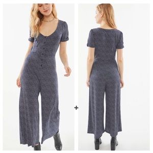 Urban Outfitters Button Front Polka Dot Jumpsuit